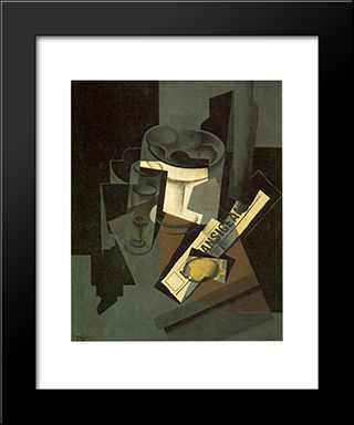 Fruit Dish, Glass And Lemon (Still Life With Nerwspape): Modern Black Framed Art Print by Juan Gris