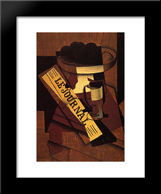 Fruit Dish, Glass And Newspaper: Modern Black Framed Art Print by Juan Gris