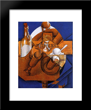 Glass, Cup And Bottle: Modern Black Framed Art Print by Juan Gris