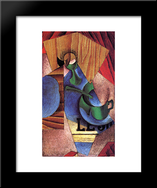 Glass, Cup And Newspaper: Modern Black Framed Art Print by Juan Gris
