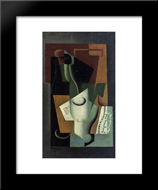Glass And Bottle: Modern Black Framed Art Print by Juan Gris