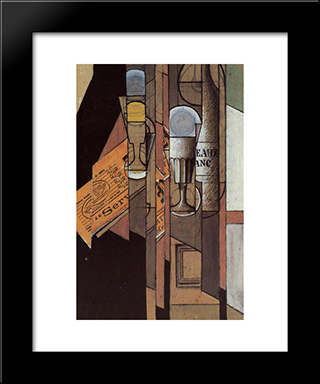 Glasses, Newspaper And Bottle Of Wine: Modern Black Framed Art Print by Juan Gris