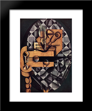 Guitar, Bottle And Glass: Modern Black Framed Art Print by Juan Gris