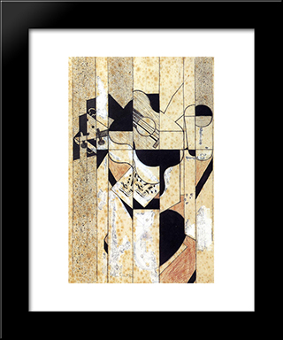 Guitar And Glass: Modern Black Framed Art Print by Juan Gris