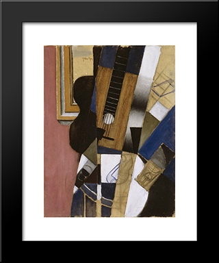 Guitar And Pipe: Modern Black Framed Art Print by Juan Gris