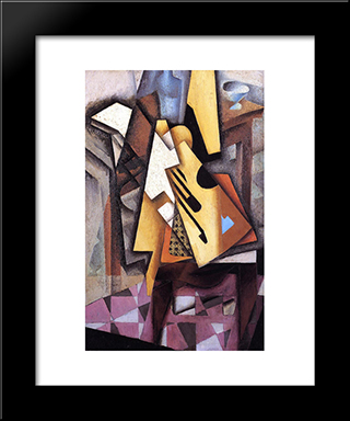 Guitar On A Chair: Modern Black Framed Art Print by Juan Gris
