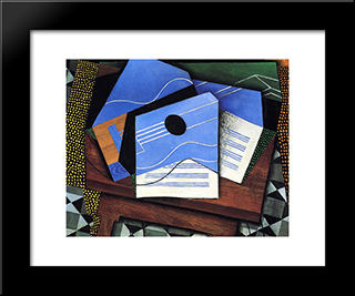 Guitar On A Table: Modern Black Framed Art Print by Juan Gris