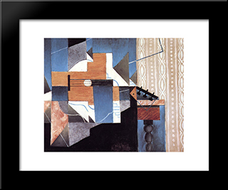 Guitar On The Table: Modern Black Framed Art Print by Juan Gris