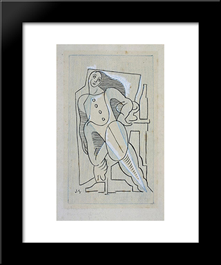 Harlequin: Modern Black Framed Art Print by Juan Gris