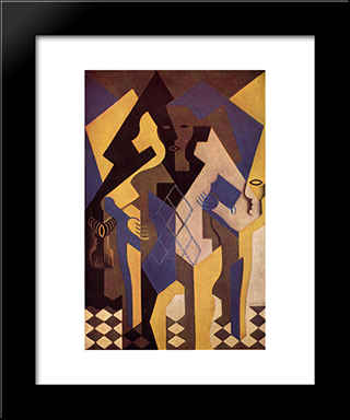 Harlequin At A Table: Modern Black Framed Art Print by Juan Gris