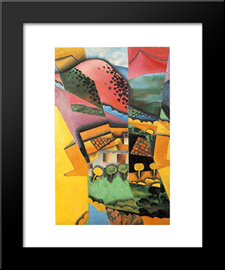 Landscape At Ceret: Modern Black Framed Art Print by Juan Gris
