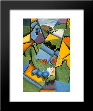 Landscape With House At Ceret: Modern Black Framed Art Print by Juan Gris