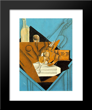 Musician'S Table: Modern Black Framed Art Print by Juan Gris
