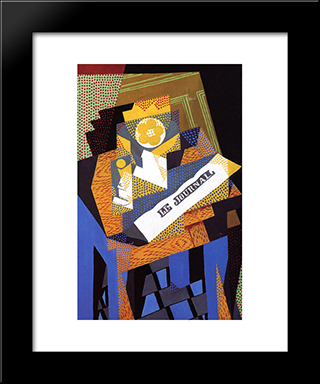 Newspaper And Fruit Dish: Modern Black Framed Art Print by Juan Gris