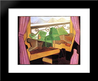 Open Window With Hills: Modern Black Framed Art Print by Juan Gris