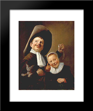 A Boy And A Girl With A Cat And An Eel: Modern Black Framed Art Print by Judith Leyster