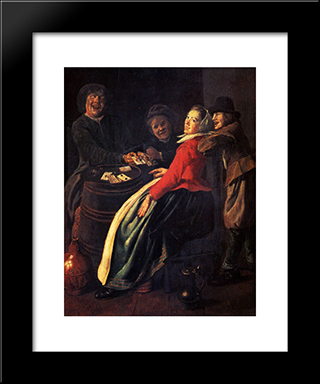 A Game Of Cards: Modern Black Framed Art Print by Judith Leyster