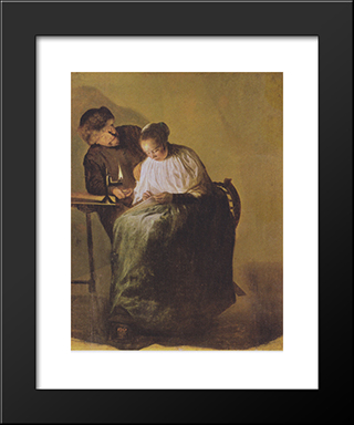 A Man Offers A Young Girl Money: Modern Black Framed Art Print by Judith Leyster