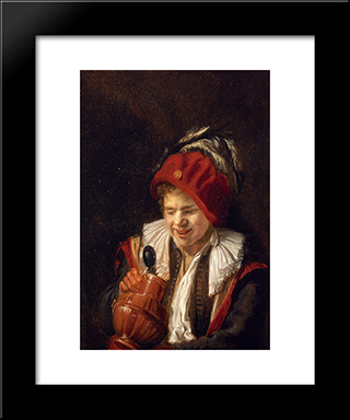 A Youth With A Jug: Modern Black Framed Art Print by Judith Leyster