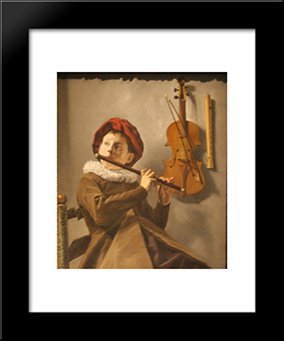 Boy Playing The Flute: Modern Black Framed Art Print by Judith Leyster
