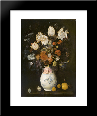 Flowers In A Vase: Modern Black Framed Art Print by Judith Leyster
