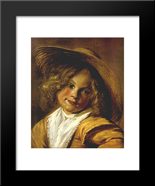 Girl With A Straw Hat: Modern Black Framed Art Print by Judith Leyster