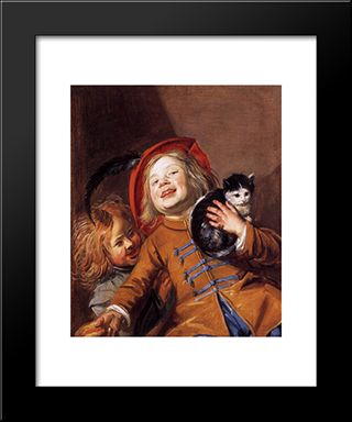 Laughing Children With A Cat: Modern Black Framed Art Print by Judith Leyster