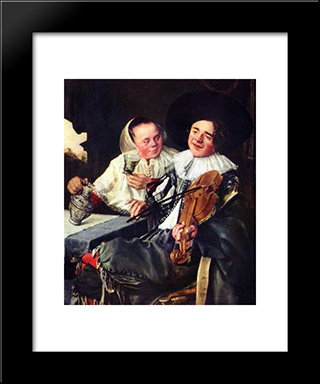 Merry Company: Modern Black Framed Art Print by Judith Leyster