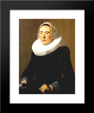 Portrait Of A Woman: Modern Black Framed Art Print by Judith Leyster