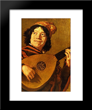 The Jester: Modern Black Framed Art Print by Judith Leyster
