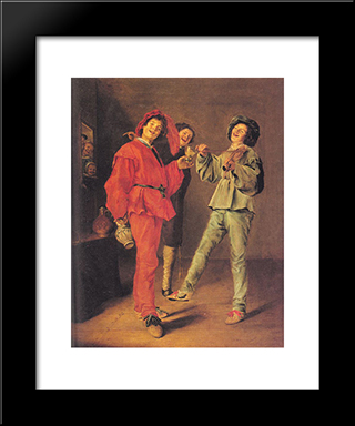 Three Boys Merry-Making: Modern Black Framed Art Print by Judith Leyster