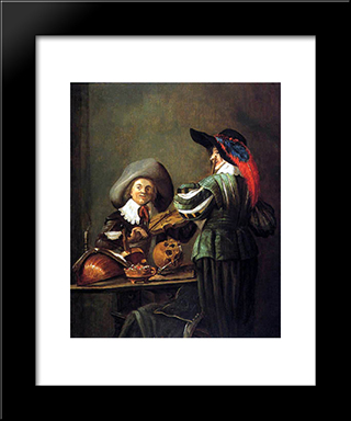 Two Musicians: Modern Black Framed Art Print by Judith Leyster