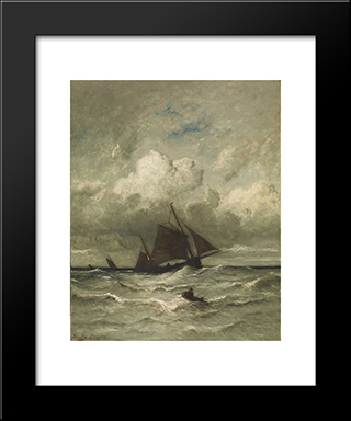 At Sea: Modern Black Framed Art Print by Jules Dupre
