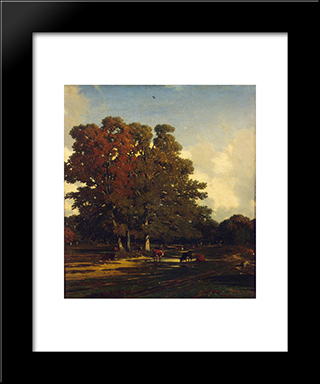 Autumn Landscape: Modern Black Framed Art Print by Jules Dupre
