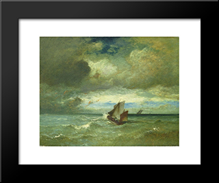 Choppy Sea: Modern Black Framed Art Print by Jules Dupre