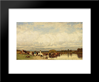 Cows Crossing A Ford: Modern Black Framed Art Print by Jules Dupre