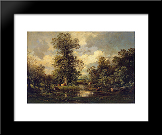 Forest Landscape: Modern Black Framed Art Print by Jules Dupre