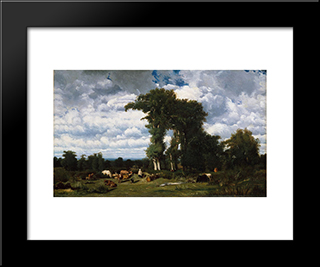 Landscape With Cattle At Limousin: Modern Black Framed Art Print by Jules Dupre