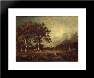 Landscape With Cows: Modern Black Framed Art Print by Jules Dupre