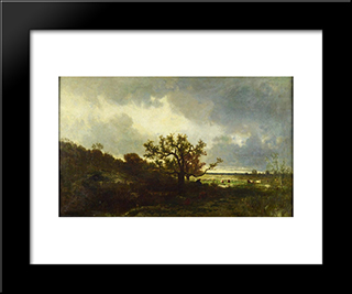 Landscape With Oaktree: Modern Black Framed Art Print by Jules Dupre