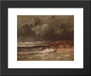 Marine Landscape (The Cape And Dunes Of Saint-Quentin): Modern Black Framed Art Print by Jules Dupre