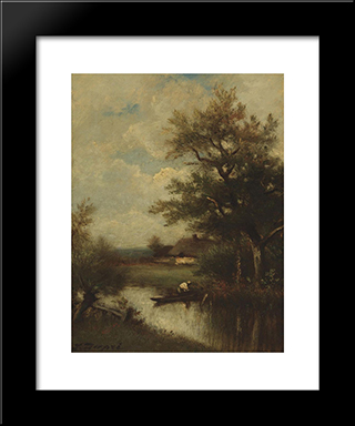 Return Of The Fisherman: Modern Black Framed Art Print by Jules Dupre