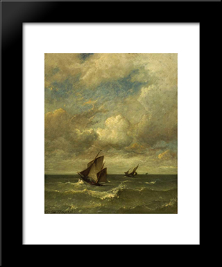 Shipping In A Breeze: Modern Black Framed Art Print by Jules Dupre