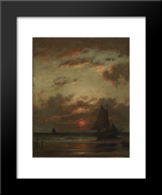 Sunset On The Coast: Modern Black Framed Art Print by Jules Dupre