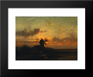 The Windmill: Modern Black Framed Art Print by Jules Dupre