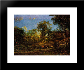 View Of The Pastures Of The Limousin: Modern Black Framed Art Print by Jules Dupre