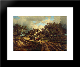 Village Landscape: Modern Black Framed Art Print by Jules Dupre