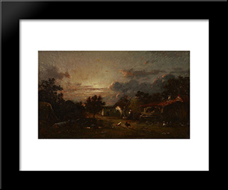 Village Scene, Sunset: Modern Black Framed Art Print by Jules Dupre