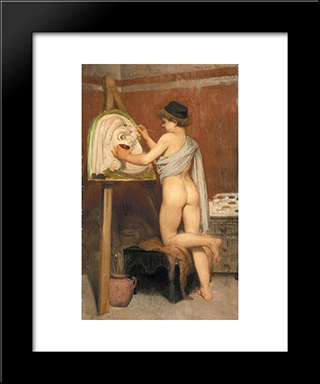 Boy Painting A Tragic Mask: Modern Black Framed Art Print by Jules Joseph Lefebvre