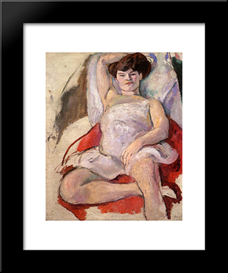 Dancer At The Moulin Rouge: Modern Black Framed Art Print by Jules Pascin